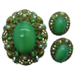 Western Germany Green Glass & Rhinestones Pin Brooch & Earrings Set