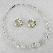 Sherman Crystal Beads Choker Necklace & Earrings Set