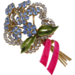 Vendome Enamelled Rhinestone Flower Bouquet Pin Brooch