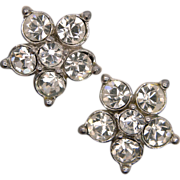 Bogoff Flower Clip Earrings with Clear Rhinestones