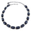 Coro Deep Blue Moonglow & Rhinestone Choker Necklace