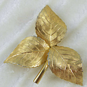 Grosse 1959 Germany Goldtone Leaves Pin Brooch