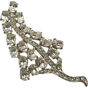 Wiesner Clear Rhinestone Leaf Pin Brooch