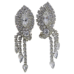 Stunning Clear Rhinestone Clip Dangle Earrings