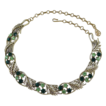 Coro Shades of Green Rhinestone Choker Necklace