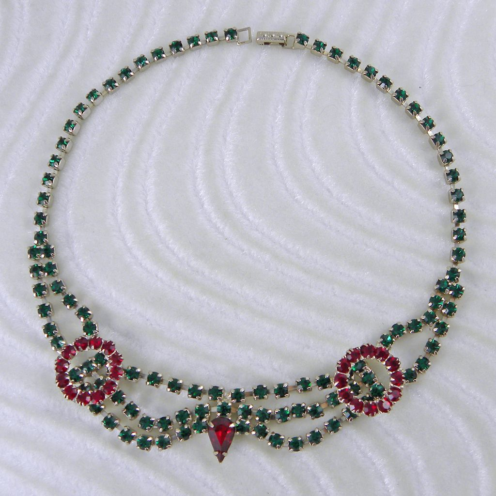 Red & Green Rhinestone Choker Necklace for Christmas