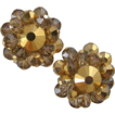 Hobe Gold Colored Crystal Clip Earrings