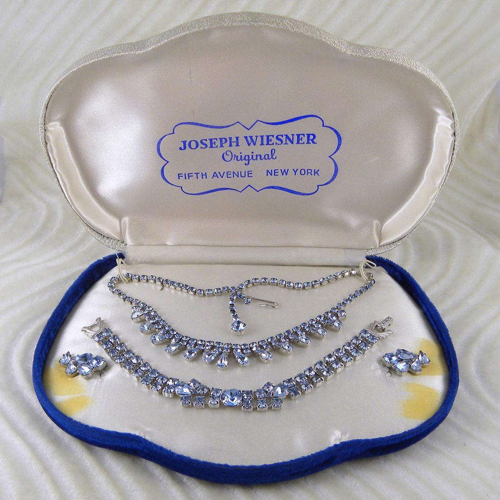 Wiesner Blue Rhinestone Set Original Box Necklace Bracelet Earrings