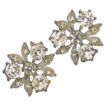 Bogoff Floral Clear Rhinestone Screw Earrings