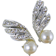 Coro Rhinestone & Faux Pearl Clip Earrings