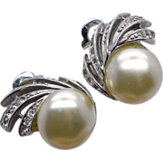 Reja Rhinestone & Faux Pearl Clip Earrings