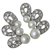 Bogoff Silvertone Faux Pearl & Rhinestones Clip Earrings