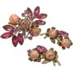 Pink Floral Pin & Clip Earrings Set with Beads & Rhinestones