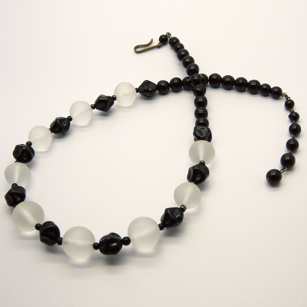Western Germany Black & Frosted Clear Lucite Beads Necklace