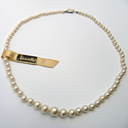 Marvella Faux Pearl Necklace with Sterling Rhinestone Clasp