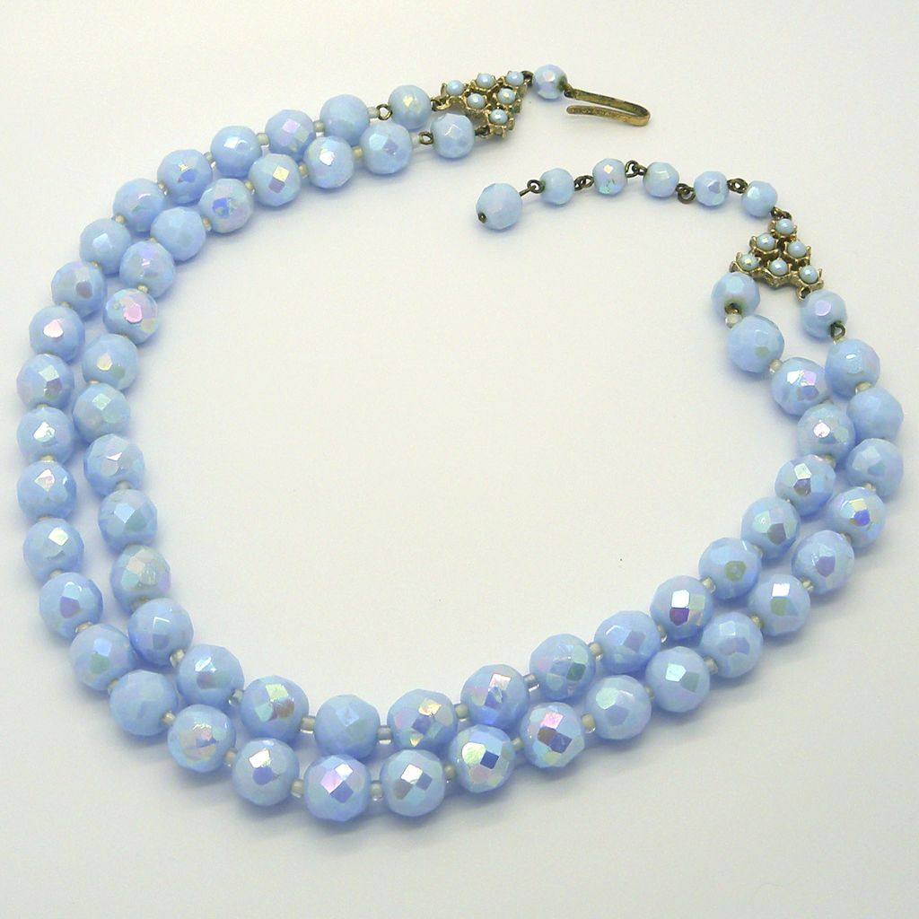 Western Germany Light Blue Two Strand Necklace