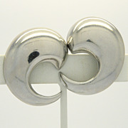 Alexis Kirk Chunky Silvertone Swirl Clip Earrings