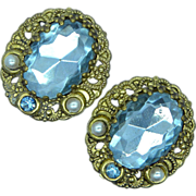 Western Germany Light Blue Rhinestone & Faux Pearl Clip Earrings