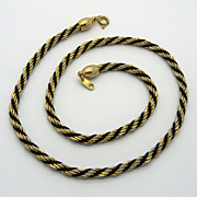 Trifari Goldtone Rope Chain Necklace with Black Cord
