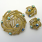 SOLD Lisner Green A.B. Rhinestone Pin & Earrings Set