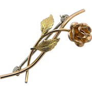Krementz Gold Plated Rose Scatter Pin Brooch