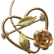 Krementz Rose Heart Gold Plated Pin Brooch