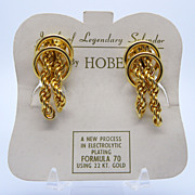 Hobe Gold Plated Chain Clip Earrings on Original Card