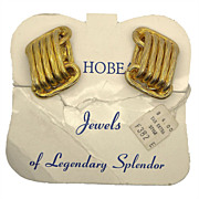 Hobe Goldtone Oval Links Clip Earrings Original Card & Price Tag
