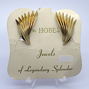 Hobe Goldtone Fan Clip Earrings on Original Card