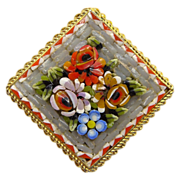 Italian Micro Mosaic Square Floral Pin Brooch