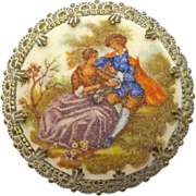 Western Germany Sugared Victorian Couple Pin Brooch