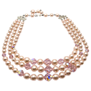 Laguna 3 Strand Pink Faux Pearl & Crystal Beads Necklace