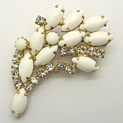 White Milk Glass & Clear Rhinestones Pin Brooch