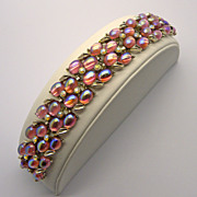 SOLD Kramer Pink A.B. Glass Cabs Rhinestone Bracelet