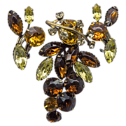 Brown & Yellow Rhinestone Pin & Earrings Set