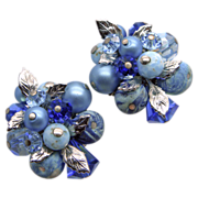 Vendome Shades of Blue Beaded Clip Earrings