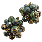 Vendome Dark Green & Gold Beaded Earrings