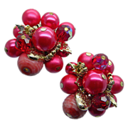 Vendome Red Pink Beaded Earrings