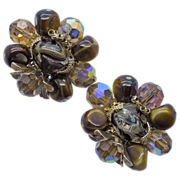 Vendome Brown Beaded Clip Earrings