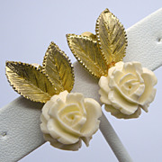 Ledo Polcini Cream Celluloid Rose Clip Earrings