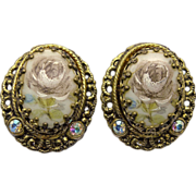 Western Germany Rose Cameo Clip Earrings