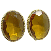 Whiting & Davis Topaz Rhinestone Clip Earrings