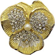 BSK Two Toned Rhinestone Pansy Flower Pin Brooch