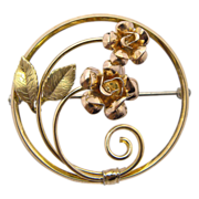 Krementz Gold Plated Round Roses Pin Brooch
