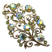 Coro Peridot Green A.B. Rhinestone Floral Pin Brooch
