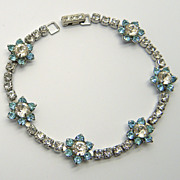 Kramer Aqua Blue & Clear Rhinestone Bracelet