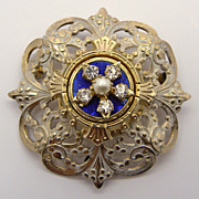 Accessocraft Enamelled Pin with Rhinestones & Faux Pearl
