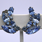 Weiss Light Sapphire Blue Rhinestone Clip Earrings