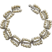 Bogoff Faux Pearl & Clear Rhinestones Bracelet