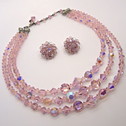 Triple Strand Pink Crystal Necklace & Clip Earrings Set